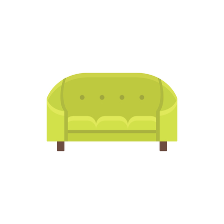 Green cabriole. Tufted vintage sofa. Vector illustration. Flat icon of settee. Element of retro home & office furniture. Front view.