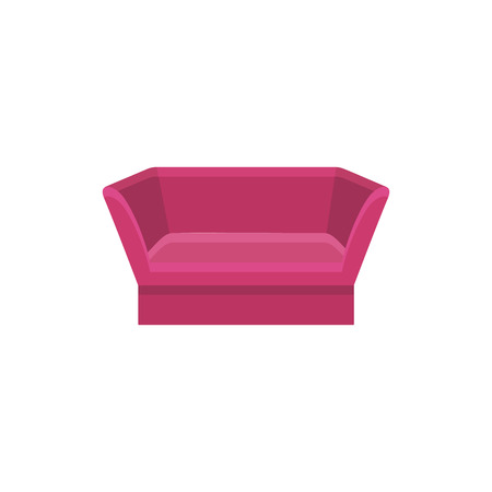 Red knole sofa. Vector illustration. Flat icon of settee. Element of vintage home & office furniture. Front view.
