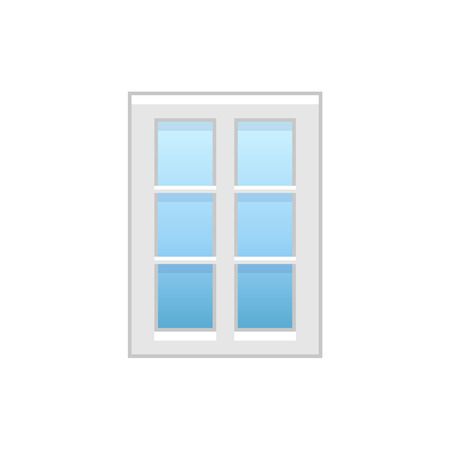Vector illustration of modern vinyl casement window. Flat icon of aluminum window with 2 movable panels and decorative muntins. Isolated object on white background.