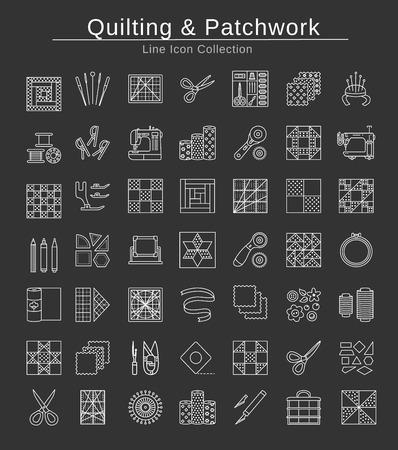 Acolchado y patchwork. Suministros y accesorios para coser edredones de cuadrados y bloques de tela. Diferentes herramientas, patrones para quilters. Conjunto de iconos de línea de vector. Objetos aislados sobre fondo negro.
