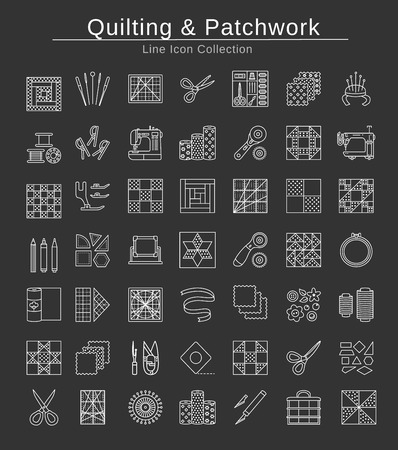 Quilting & patchwork. Supplies and accessories for sewing quilts from fabric squares & blocks. Different tools, patterns for quilters. Vector line icon set. Isolated objects on black background.