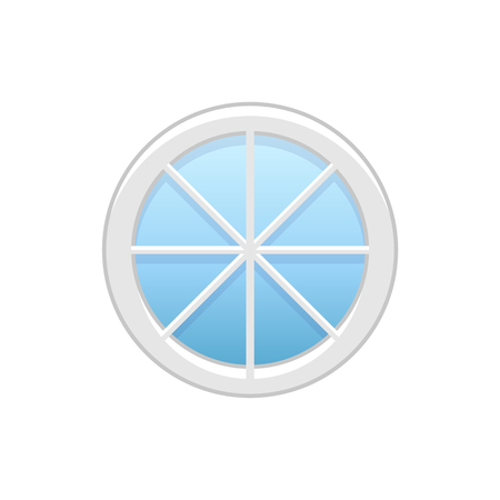 Vector illustration of round attic vinyl wheel window. Flat icon of traditional aluminum circular window with radial bars for mansard & garret. Isolated object on white background. Illustration