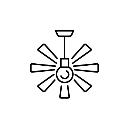 Vector illustration of ceiling fan. Line icon of modern light fixture & ventilator. Home & office lighting. Isolated object on white background.