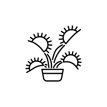 Black & white vector illustration of insect eating plant with leaves in pot. Line icon of decorative home plant in container. Isolated object on white background.