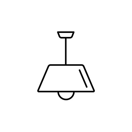 Vector illustration of modern ceiling lamp. Line icon of pendant light. Simple chandelier for kitchen or hallway. Home lighting. Isolated object on white background.