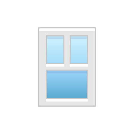 Vector illustration of modern vinyl casement window. Flat icon of aluminum window with 3 movable panels. Isolated object on white background.