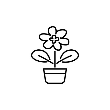 Black & white vector illustration of blooming houseplant  with leaves in pot. Line icon of decorative flowering home plant in container. Isolated object on white background.