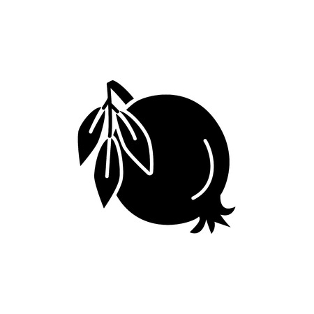 Black & white vector illustration of organic pomegranate with leaves. Flat icon of fresh fruit. Vegan & vegetarian food. Health eating ingredient. Isolated object on white background.