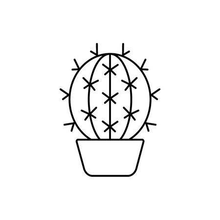 Vector illustration of barrel cactus in the pot. Desert plant for terrarium and rock garden. Line icon of succulent. Isolated object on white background.