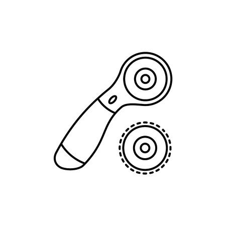 Illustration vectorielle noir et blanc du couteau rotatif et lame. Icône de la ligne de l'instrument de courtepointe. Outil de patchwork pour quilters pour couper le tissu. Objet isolé sur fond blanc.
