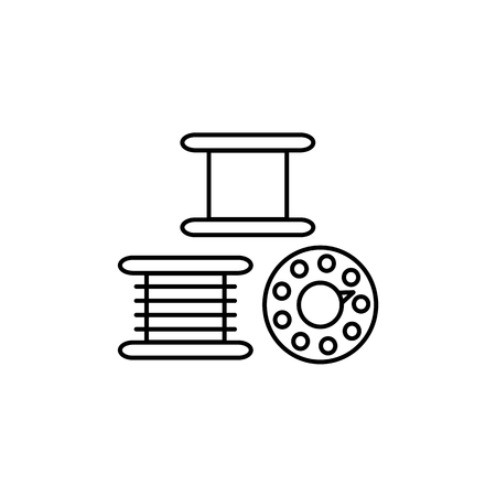 Black & white vector illustration of sewing machine bobbins. Line icon of round thread spools. Patchwork & craft accessories. Isolated objects on white background.
