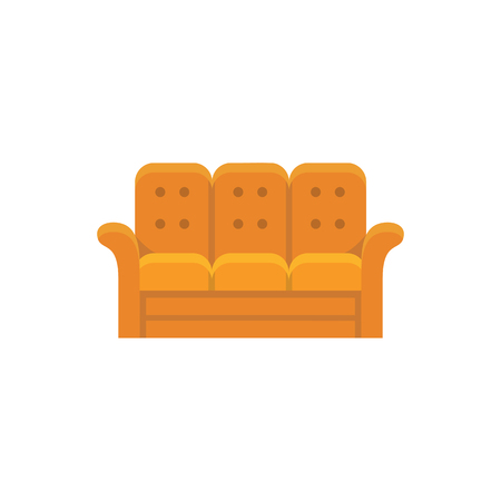 Orange recliner. 3 seaters sofa. Vector illustration. Flat icon of settee. Element of modern home & office furniture. Front view. 일러스트