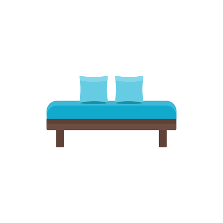 Blue daybed with pillows. Comfortable sofa. Vector illustration. Flat icon of settee. Element of modern home & office furniture. Front view.