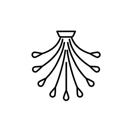 Vector illustration of modern ceiling lamp. Line icon of multi light chandelier. Home lighting. Isolated object on white background. Stock Vector - 110078856