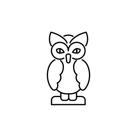 Black & white vector illustration of owl table figurine. Line icon of decorative bird statuette for home & office. Isolated object on white background.  イラスト・ベクター素材