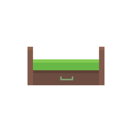 Wooden pull-out sleeper. Vector illustration. Flat icon of green settee. Modern sofa with bed. Element of modern home & office furniture. Front view.