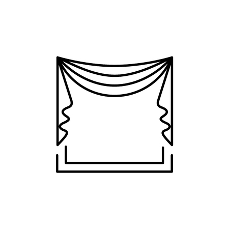 Vector illustration of fabric curtain with drapery. Pelmet with central symmetric swag. Line icon of window blind. Isolated object on white background