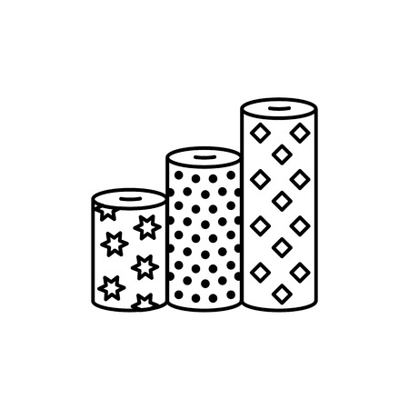 Black & white vector illustration of fabric assortments. Line icon of textile rolls with different patterns for quilting & patchwork. Sewing material. Isolated object on white background.
