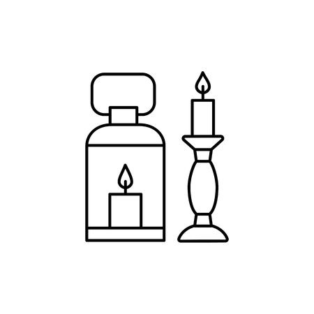 Illustration vectorielle noir et blanc de lanterne et chandelier. Icône de la ligne de produits de design d'intérieur. Bougeoirs vintage décoratifs. Objets isolés sur fond blanc.