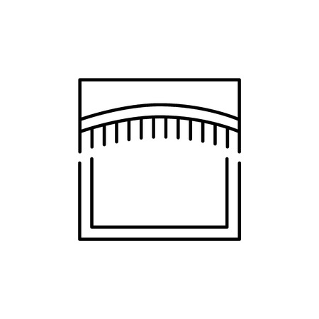 Vector illustration of fabric arched valance with fringe. Line icon of window pelmet. Isolated object on white background