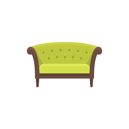 Green chesterfield sofa sofa. Vector illustration. Flat icon of settee. Element of modern home & office furniture. Front view.