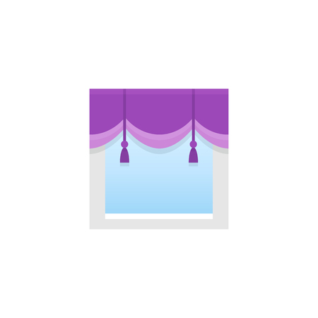 Pulple fabric scalloped valance with tassels. Vector illustration. Flat icon of pelmet. Element of home & office window decoration.