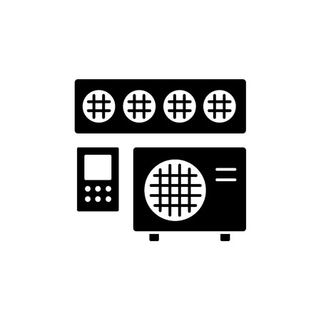 Vector illustration of ducted air conditioner with remote control panel. Flat icon of heat regulation appliance. Climate equipment for home & office. Isolated object on white background.