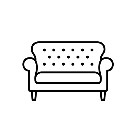 Black & white vector illustration of bridgewater sofa. Line icon of settee. Element of modern home & office furniture. Isolated object on white background