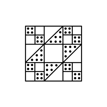 Black & white vector illustration of stepping stones quilt pattern. Line icon of quilting & patchwork geometric design template. Isolated object on white background.