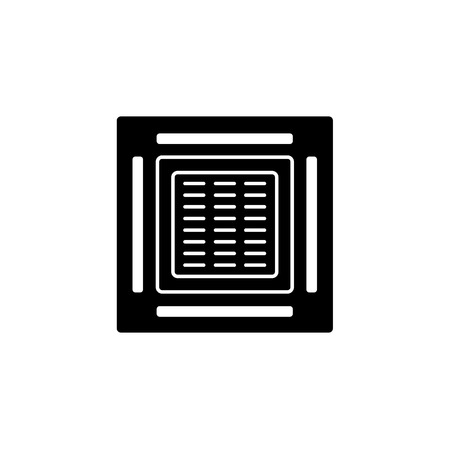 Vector illustration of cassette air conditioner. Flat icon of heat regulation appliance. Climate equipment for home & office. Isolated object on white background.