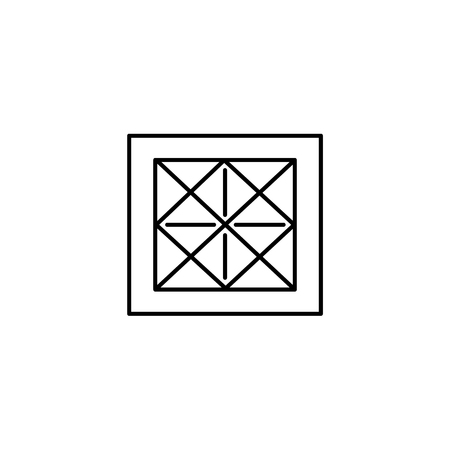 Black & white vector illustration of small rug with geometric pattern.  Line icon of interior design product. Decorative carpet for home & office. Isolated object on white background. 스톡 콘텐츠 - 108813842