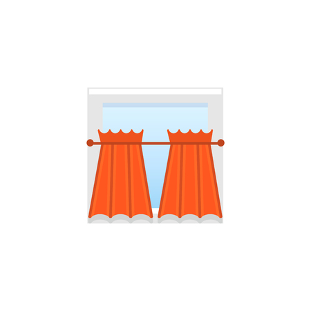 Red fabric curtains with drapery. Vector illustration. Flat icon of cafe style shade. Element of home & restaurant window decoration. 向量圖像