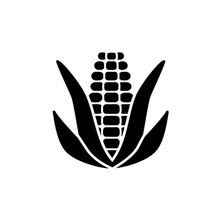 Black & white vector illustration of ear of corn with leaves & kernels. Flat icon of fresh organic maize. Vegan & vegetarian food. Health eating ingredient. Isolated object on white background.