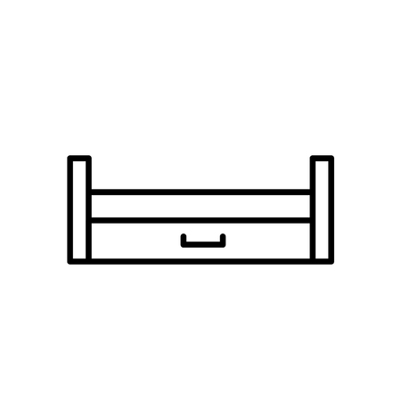 Black & white vector illustration of wooden pull-out sleeper. Line icon of sofa with bed. Modern home & office furniture. Isolated object on white background Illustration