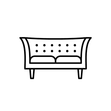 Black & white vector illustration of tuxedo sofa. Modern chesterfield. Line icon of settee. Home & office furniture. Isolated object on white background