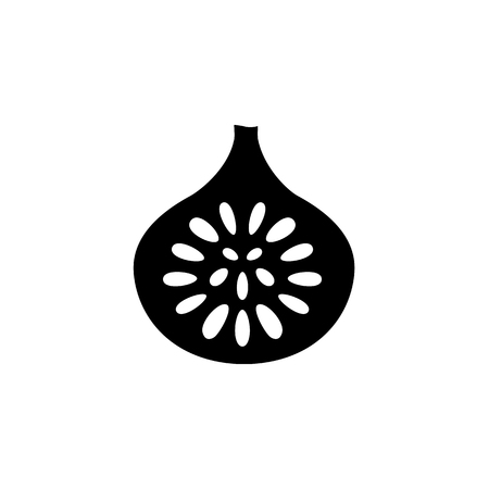 Black & white vector illustration of cut fig fruit with seeds. Flat icon of fresh anjeer. Vegan & vegetarian food. Health eating ingredient. Isolated object on white background. Front view.