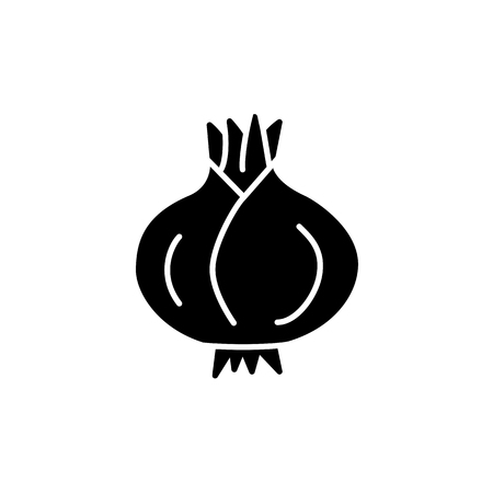 Black & white vector illustration of whole unpeeled onion bulb. Flat icon of fresh organic onion root. Vegan & vegetarian food. Health eating ingredient. Isolated object on white background.