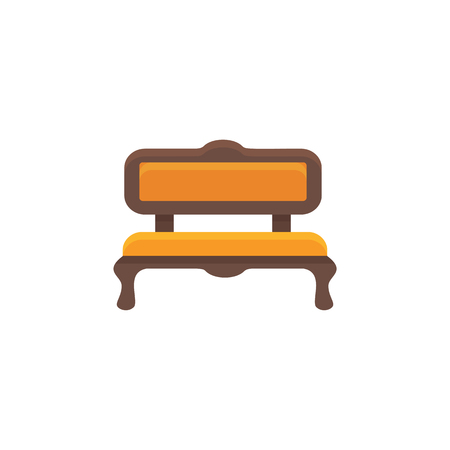Orange sofa. Cushioned bench. Vector illustration. Flat icon of settee. Element of modern home & office furniture. Front view.