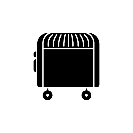 Black & white vector illustration of electric convector. Flat icon of portable house heater. Isolated object on white background. Illustration