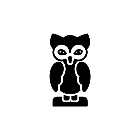 Black & white vector illustration of owl table figurine. Flat icon of decorative bird statuette for home & office. Isolated object on white background.