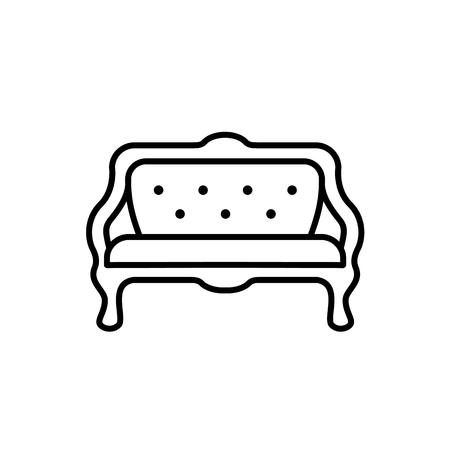 Zwart-wit vectorillustratie van gedempte bank. Lijn icoon van vintage sofa. Retro meubels. Geïsoleerde object op een witte achtergrond