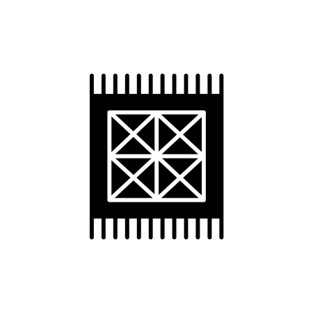 Black & white vector illustration of small rug with geometric pattern.  Flat icon of interior design product. Decorative carpet for home & office. Isolated object on white background. 스톡 콘텐츠 - 109155719