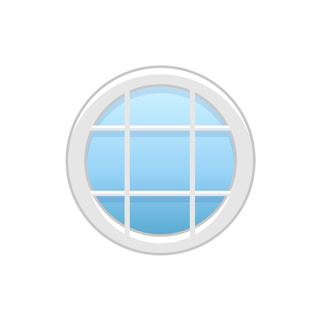 Vector illustration of round attic vinyl window. Flat icon of traditional aluminum window with horizontal & vertical bars for mansard & garret. Isolated object on white background.