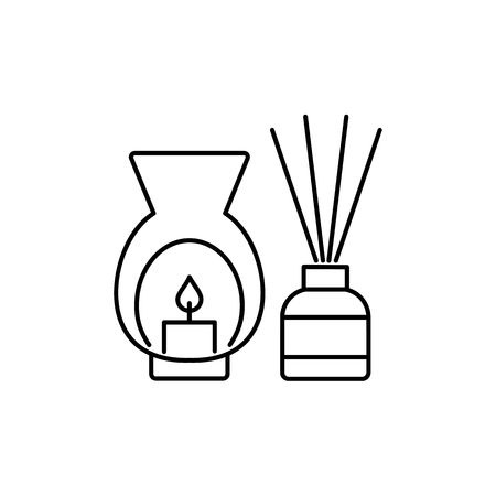 Black & white vector illustration of decorative burner with candle & reed diffusers. Line icon of aromatherapy element. Home decor items. Isolated objects on white background.