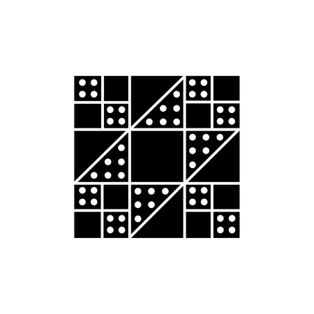 Black & white vector illustration of stepping stones quilt pattern. Flat icon of quilting & patchwork geometric design template. Isolated object on white background.