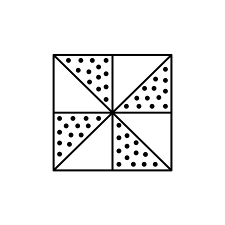 Black & white vector illustration of 4 patch quilt pattern. Line icon of quilting & patchwork geometric design template. Isolated object on white background.