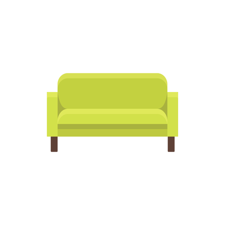 Green modern sofa. Vector illustration. Flat icon of settee. Element of modern home & office furniture. Front view.