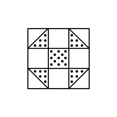 Ilustración de vector blanco y negro del patrón de colcha de mosca shoo. Icono de línea de plantilla de diseño geométrico acolchado y patchwork. Objeto aislado sobre fondo blanco.