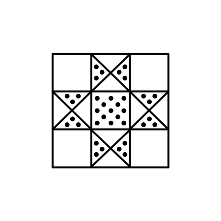 Black & white vector illustration of lone star quilt pattern. Line icon of quilting & patchwork geometric design template. Isolated object on white background.