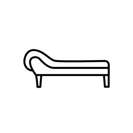 Black & white vector illustration of couch. Line icon of comfortable sofa. Modern home & office furniture. Isolated object on white background Illustration
